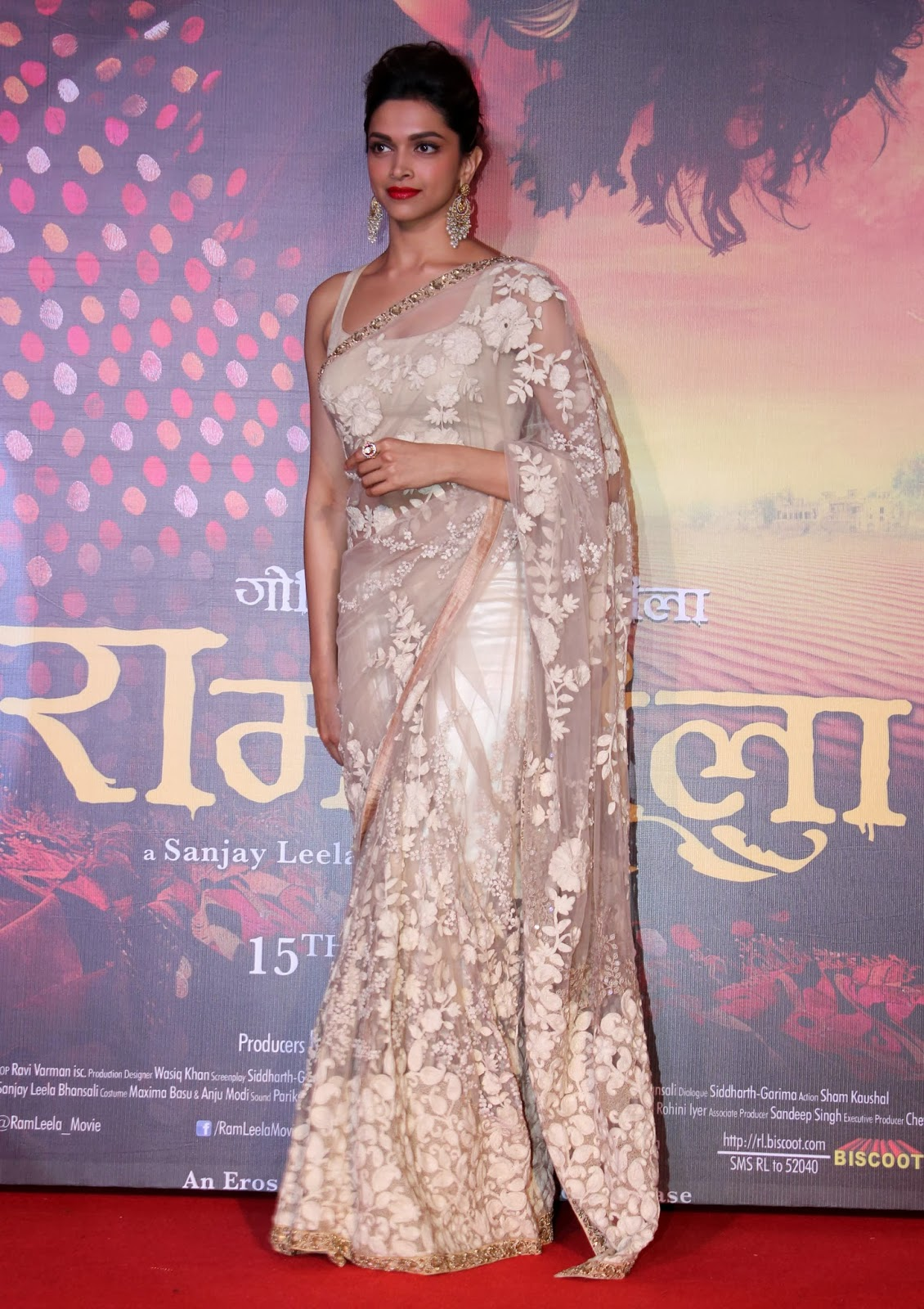 Bollywood Actress Deepika Padukone Hot Smiling Face In White Saree