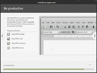 LinuxMint19 Tara installation slide show be productive with libreoffice