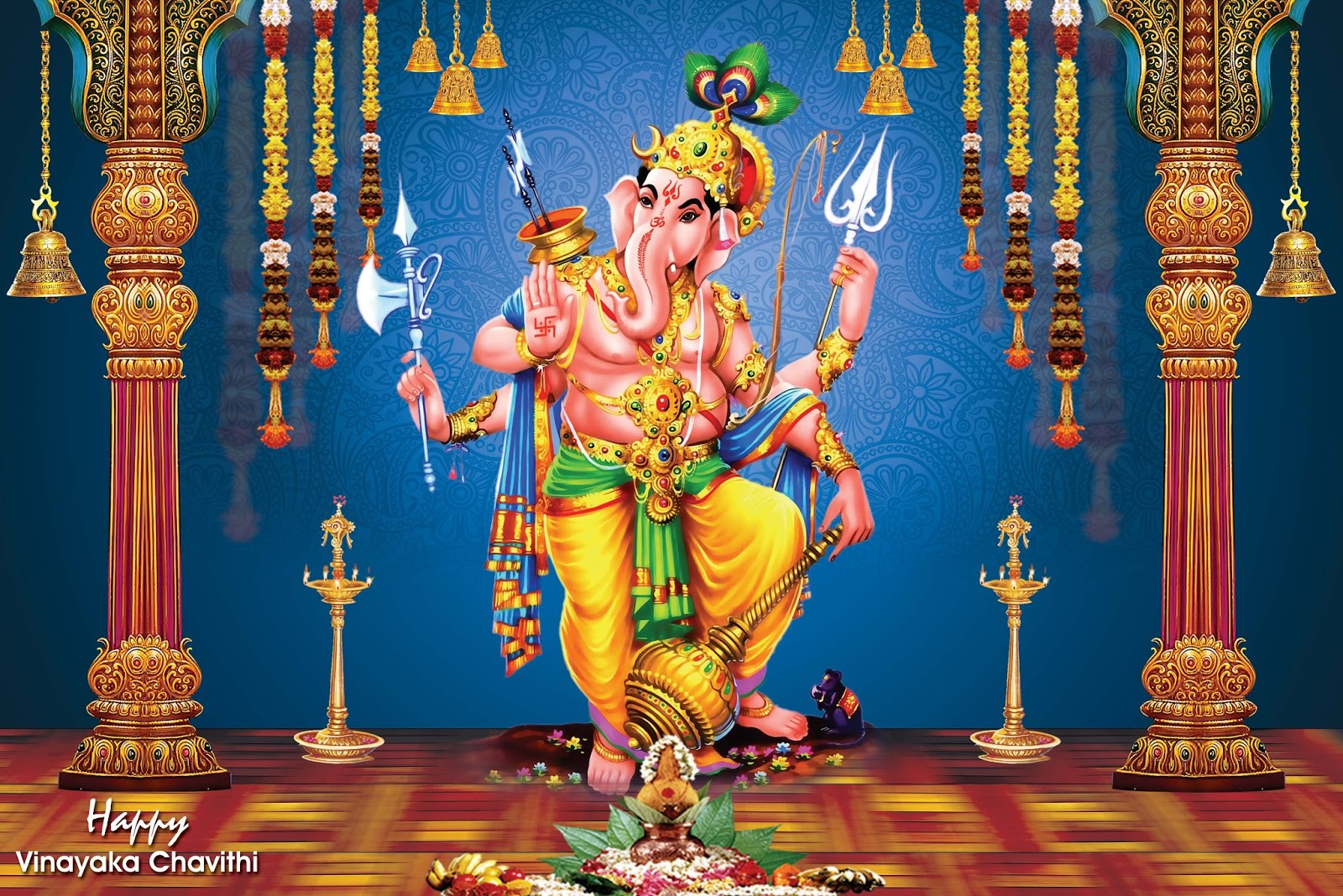 Vinayaka Pics Hd Ganesh Ji Wall Painting Hd Wallpaper On Satin