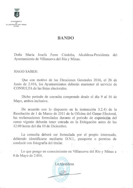 El parte municipal bando municipal disponibilidad para for Oficina del censo electoral