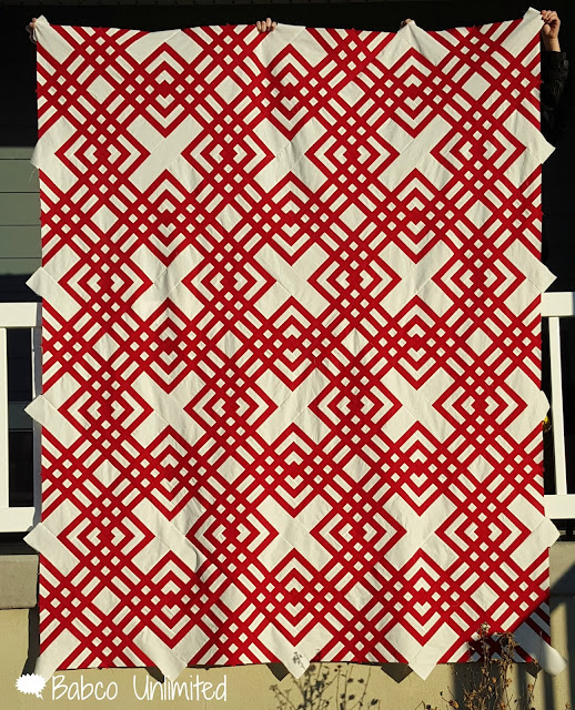 BabcoUnlimited.blogpsot.com - Red & White Quilt, Modern Quilt, 2 color Quilt