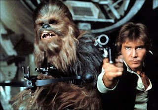 Chewbacca (Peter Mayhew) and Han Solo (Harrison Ford) in Star Wars
