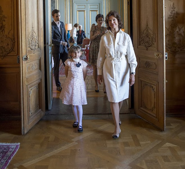 Princess Madeleine is the patron of My Big Day Foundation. Princess Madeleine is the patron of My Big Day Foundation. Princess Leonore at 'Min Stora Dag' party Princess Madeleine wore VALENTINO Pleated printed silk skirt and Rockstud Pumps