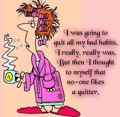 Funny Bad Curlers Woman Habit Quitter Cartoon Picture