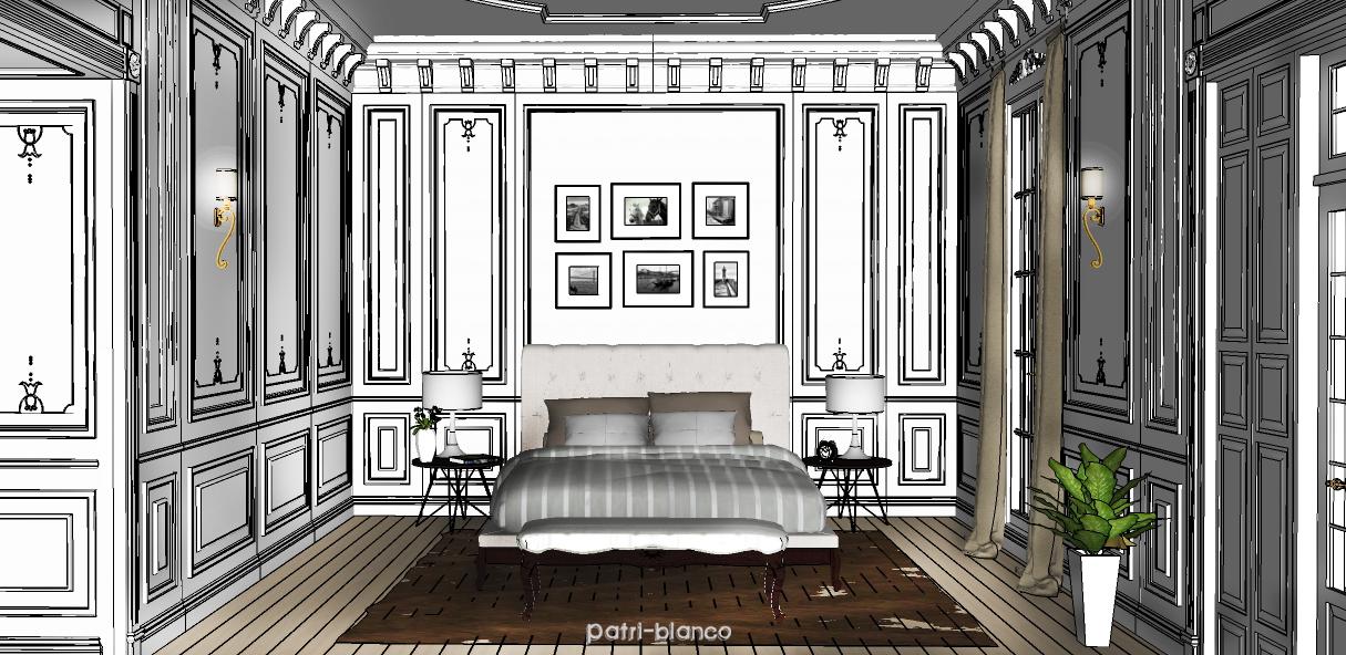Dormitorio clásico 3D