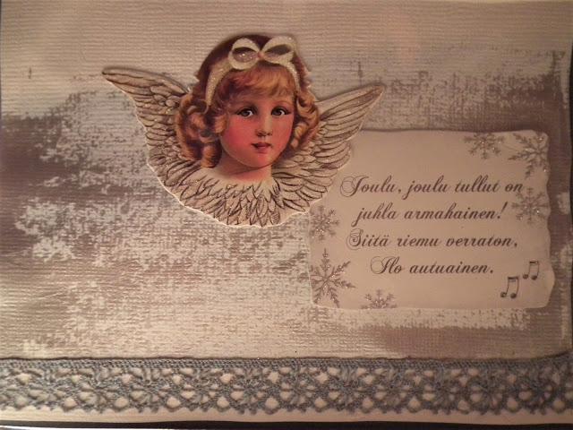 joulukortti, enkeli, skräppäys, tuunaus
