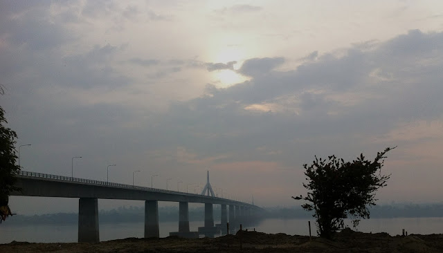 Thai - Lao Friendship bridge crossing the Mekong River