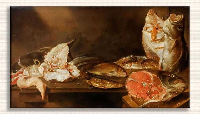 Alexander Adriaenssen, Balıklı Natürmort kanvas tablo
