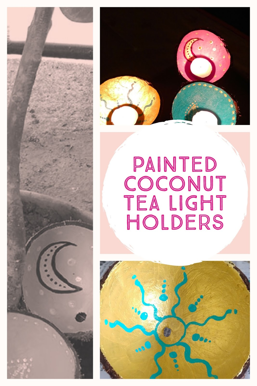 painted coconut shells turned into tea-light candles holder