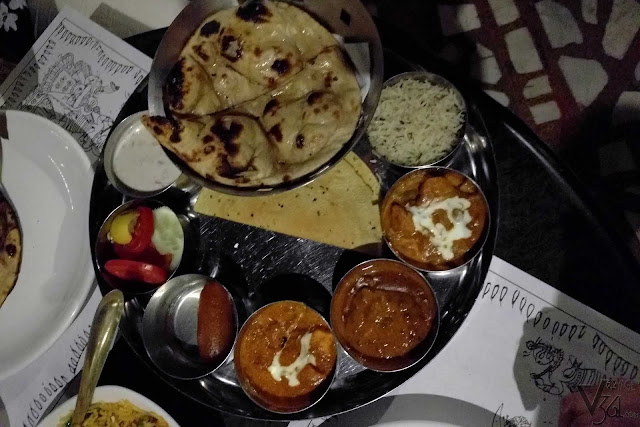 Rajasthani thali at Peacock restaurant, Jaipur