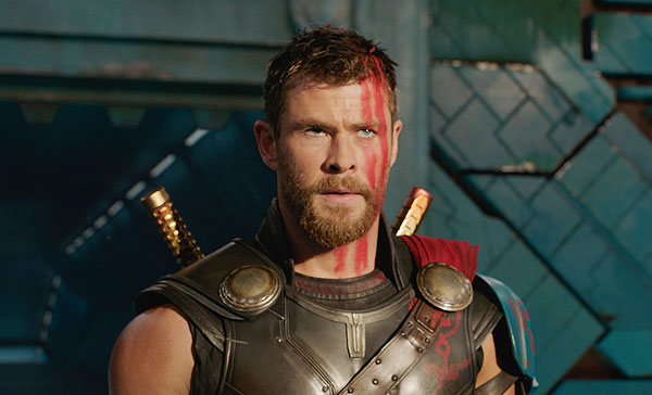 Thor (Chris Hemsworth) is about to face his opponent in THOR: RAGNAROK (2017)