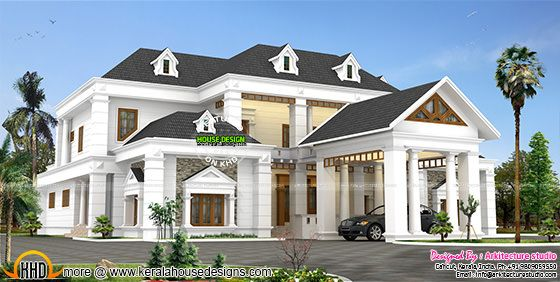 Colonial type slope roof home