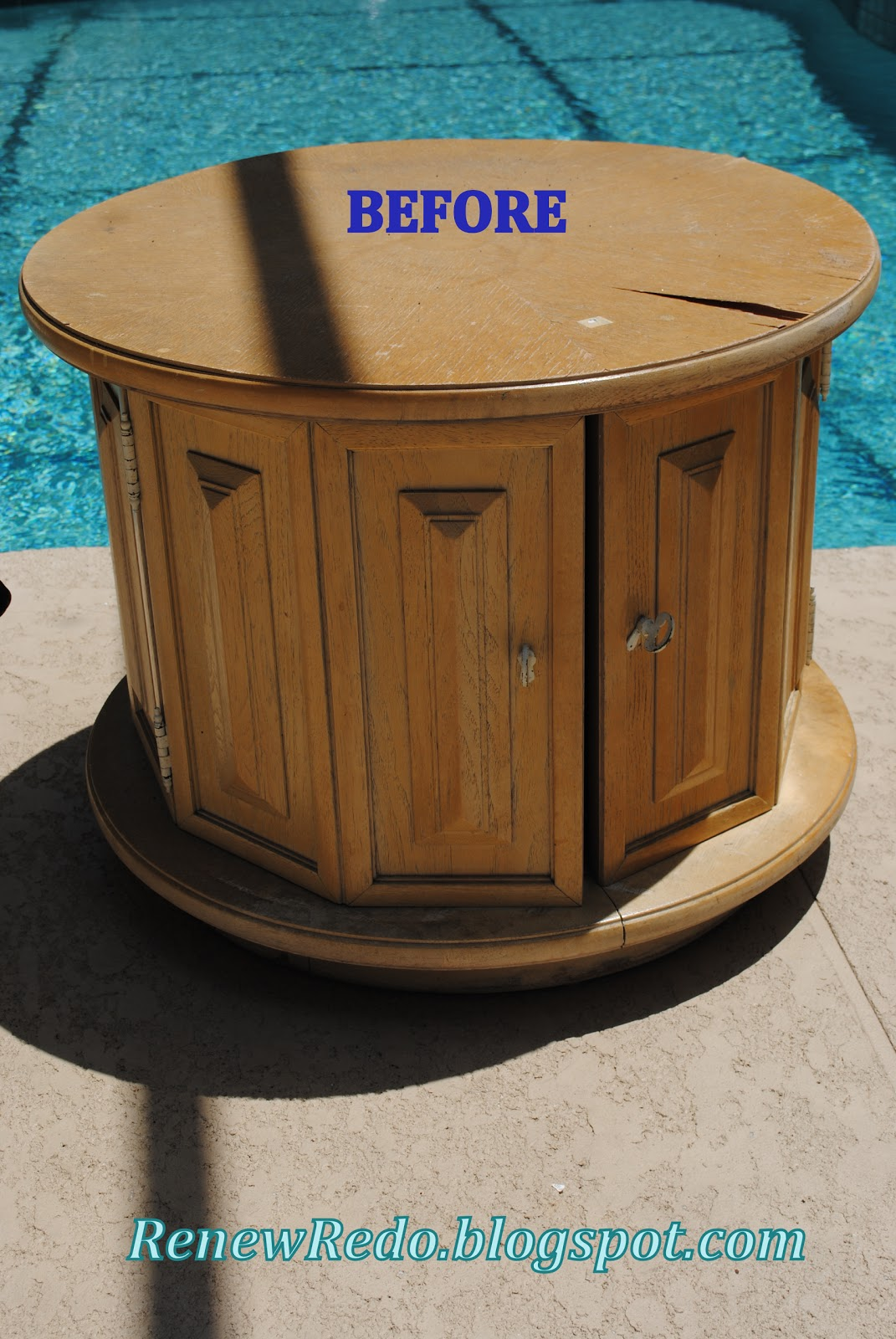 Renew Redo Vintage End Table Turned Storage Ottoman