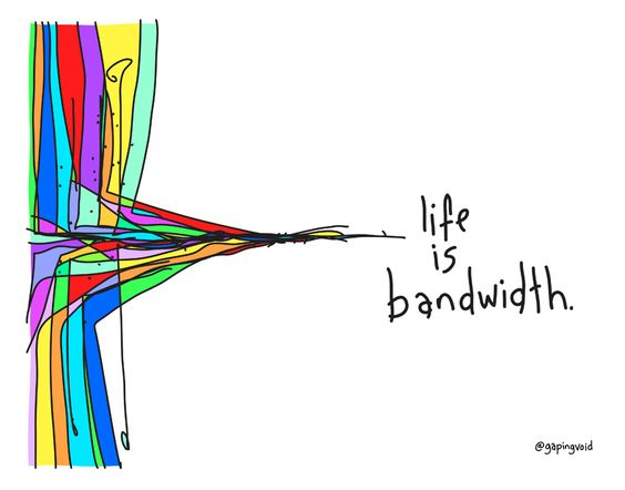 Cartoon gapingvoid Life is Bandwidth. I blogged your mom and other stories about something to say. Marchmatron.com