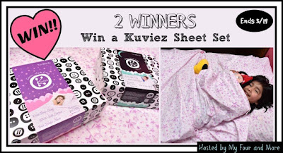 Enter the My Four and More's Kuviez Sheets Giveaway. Ends 3/19