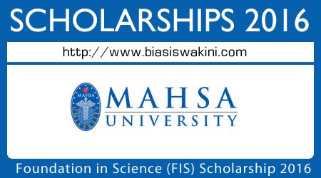 Foundation In Science Scholarship 2016