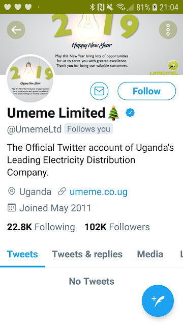 UGANDA: Did Umeme delete their Twitter account @UmemeLtd
