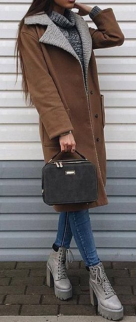 spring outfit idea: coat with skinny and boots