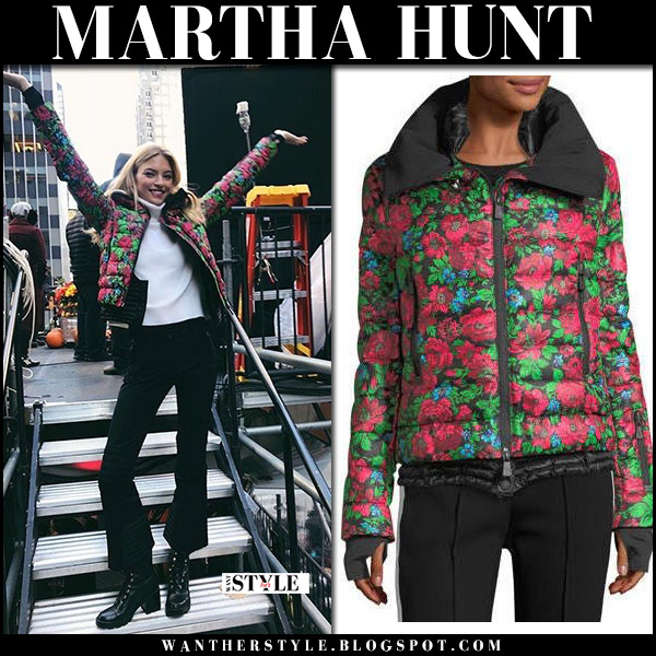Martha Hunt in green and red floral print jacket moncler winter celebrity fashion november 23