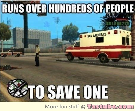 Runs over hundreds of people to save one