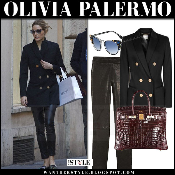 Olivia Palermo in black gold button reins lavinnia blazer and black leather j brand edita pants what she wore streetstyle