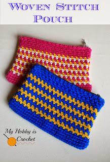 Woven Stitch (Moss Stitch) Zipper Pouch - Free Crochet Pattern on myhobbyiscrochet.com