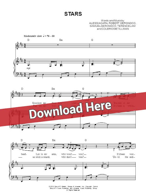alessia cara, stars, sheet music, piano notes, score, chords, download, how to play, keyboard, guitar, tabs, bass, klavier, noten, partition