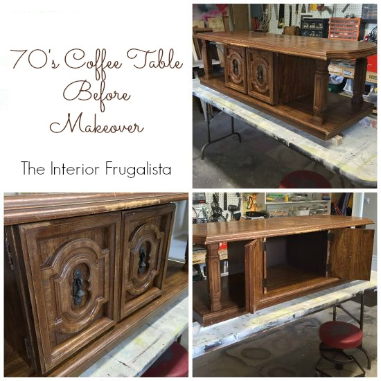 How to repurpose a chunky 70s coffee table into a gorgeous bold upholstered bench with handy storage for a entry bench, end of bed bench, or ottoman.