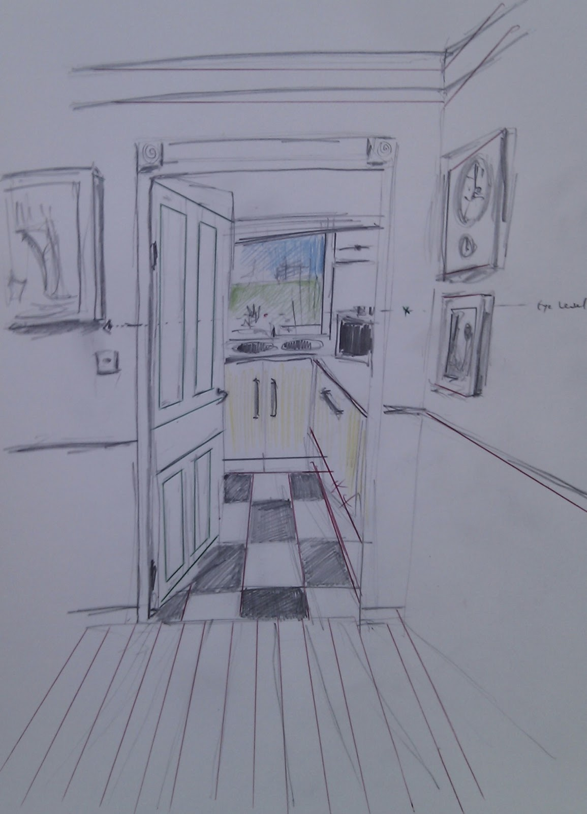Inside House Drawing: Dan Wood OCA Drawing 1: Exercise