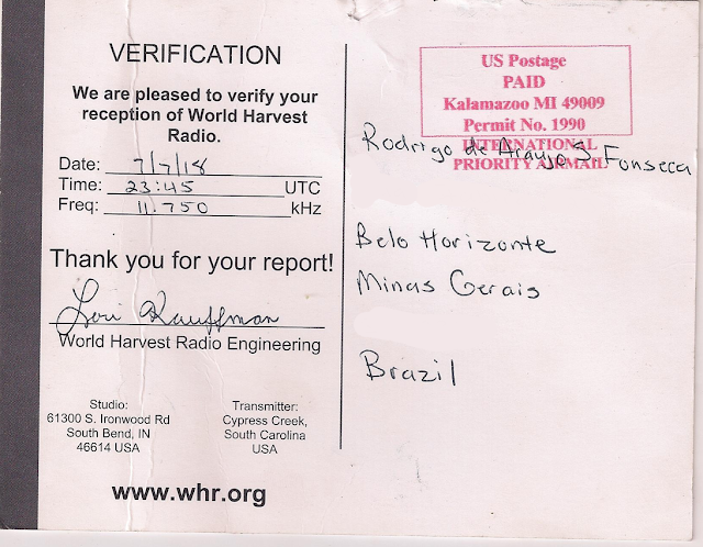 WHRI World Harvest Radio International QSL Lori Kaufmann assinado
