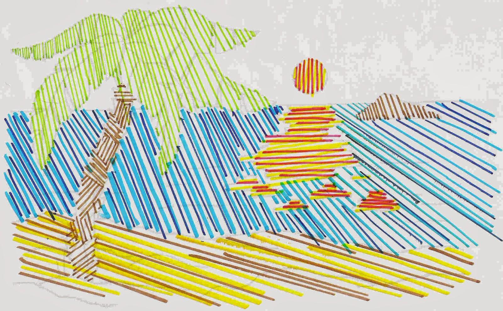 Dibujo De Lineas Paisaje: Educación Artística: Dibujos Con Líneas