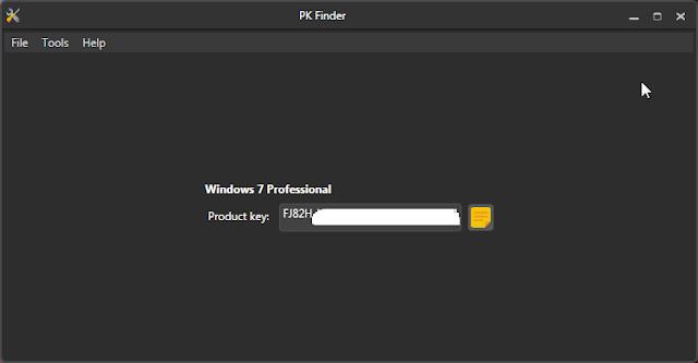 برنامج PK Finder لإسترجاع مفتاح تفعيل الويندوز في حالة نسيانه أو فقدانه