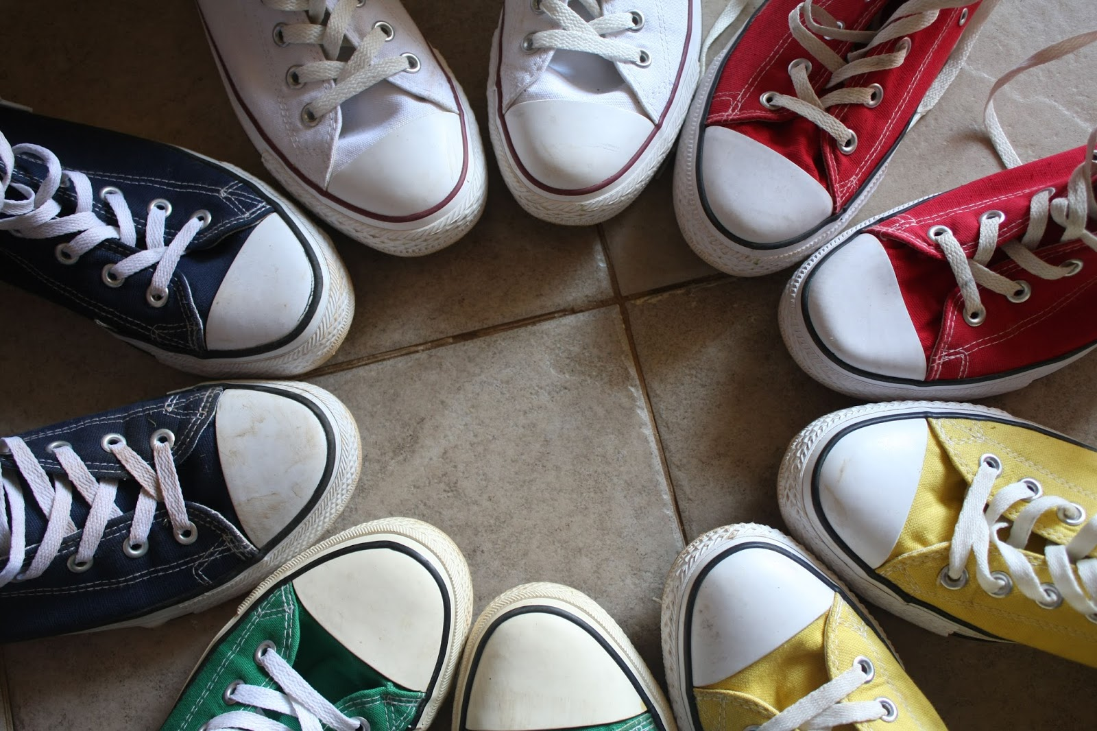 Coloured trainers in a circle