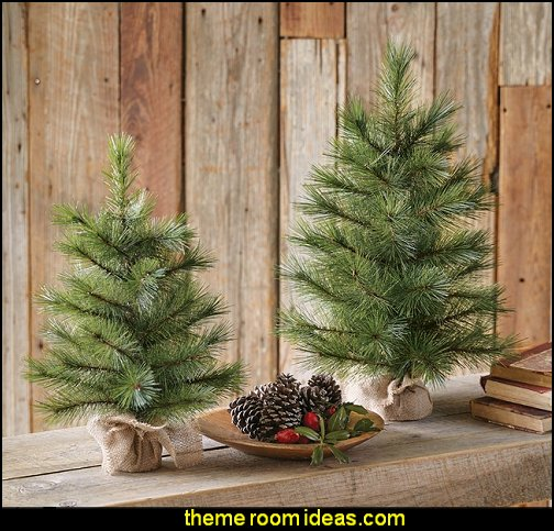 Faux Pine Christmas Tree in Burlap Base rustic chrismas decorating