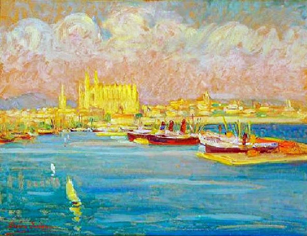 Dixie Selden, Vista de Palma Mallorca, Bahía de Palma, Mallorca en Pintura, Paisajes de Mallorca, Mallorca pintada, Bahía de Palma de Mallorca