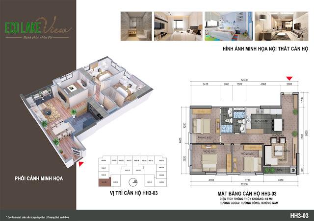 Thiết kế căn hộ 3 phòng ngủ tòa HH03