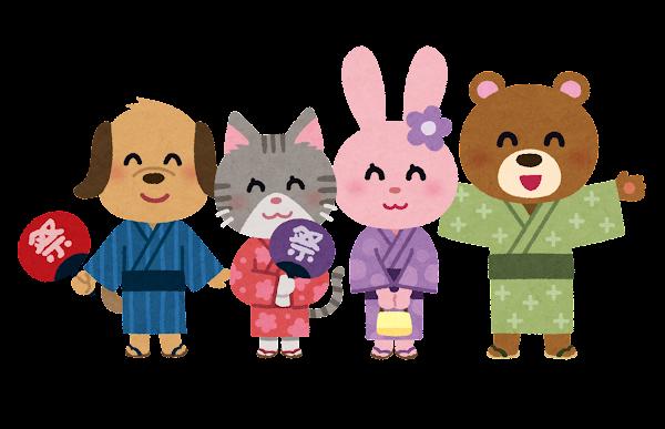 浴衣を着た動物のキャラクター