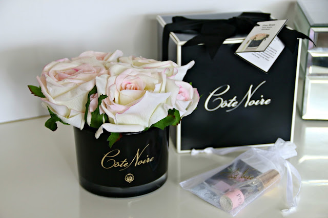 Côte Noire Blush Roses in Black Glass with Giftbox from Amara Living