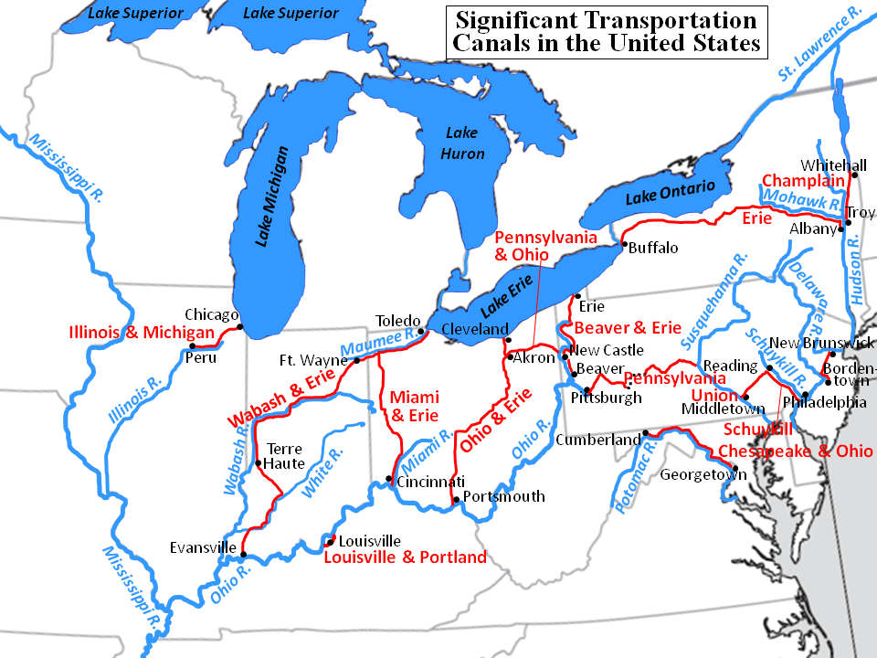 Canals In The United States : Mcdl genealogy using maps in your genealogical research