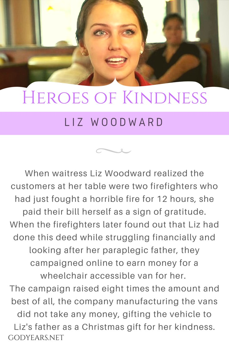 When waitress Liz Woodward realized the customers at her table were two firefighters who had just fought a horrible fire for 12 hours, she paid their bill herself as a sign of gratitude. When the firefighters later found out that Liz had done this deed while struggling financially and looking after her paraplegic father, they campaigned online to earn money for a wheelchair accessible van for her. The campaign raised eight times the amount and best of all, the company manufacturing the vans did not take any money, gifting the vehicle to Liz's father as a Christmas gift for her kindness.