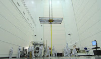 GOES-R in a clean room prior to being transported to its launch site. (Credit: NOAA Satellites/flickr) Click to Enlarge.