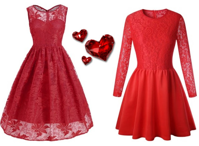 sukienka, red, valentine