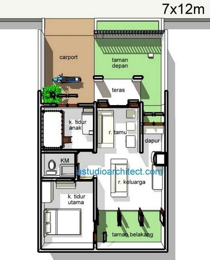 denah rumah minimalis sederhana 7x12m yang kreatif
