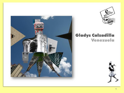 Gladys Calzadilla, Máquina de Resistencia, Collage Digital Arte Postal, Espacio 2C, Exposición Colectiva #CadaverExquisito #MailArt en #sanmigueldearbona #BacosSanMiguel Tenerife