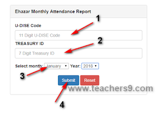 AP Teachers month wise Ehazar Report by using of Treasury ID/Employees ID