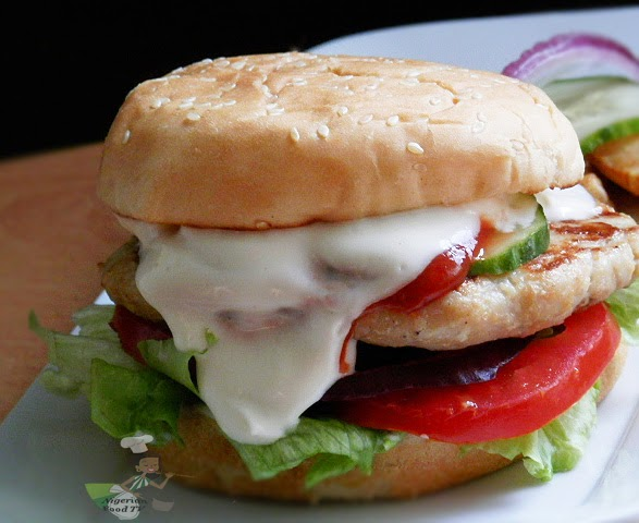 homemade chicken burger, chicken burger recipe, nigerian food tv
