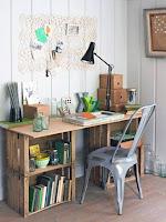 Cajones de madera reciclados para escritorio