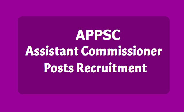 APPSC Assistant Commissioner Posts