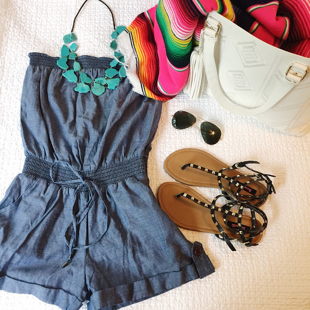 turquoise necklace denim romper studded sandals