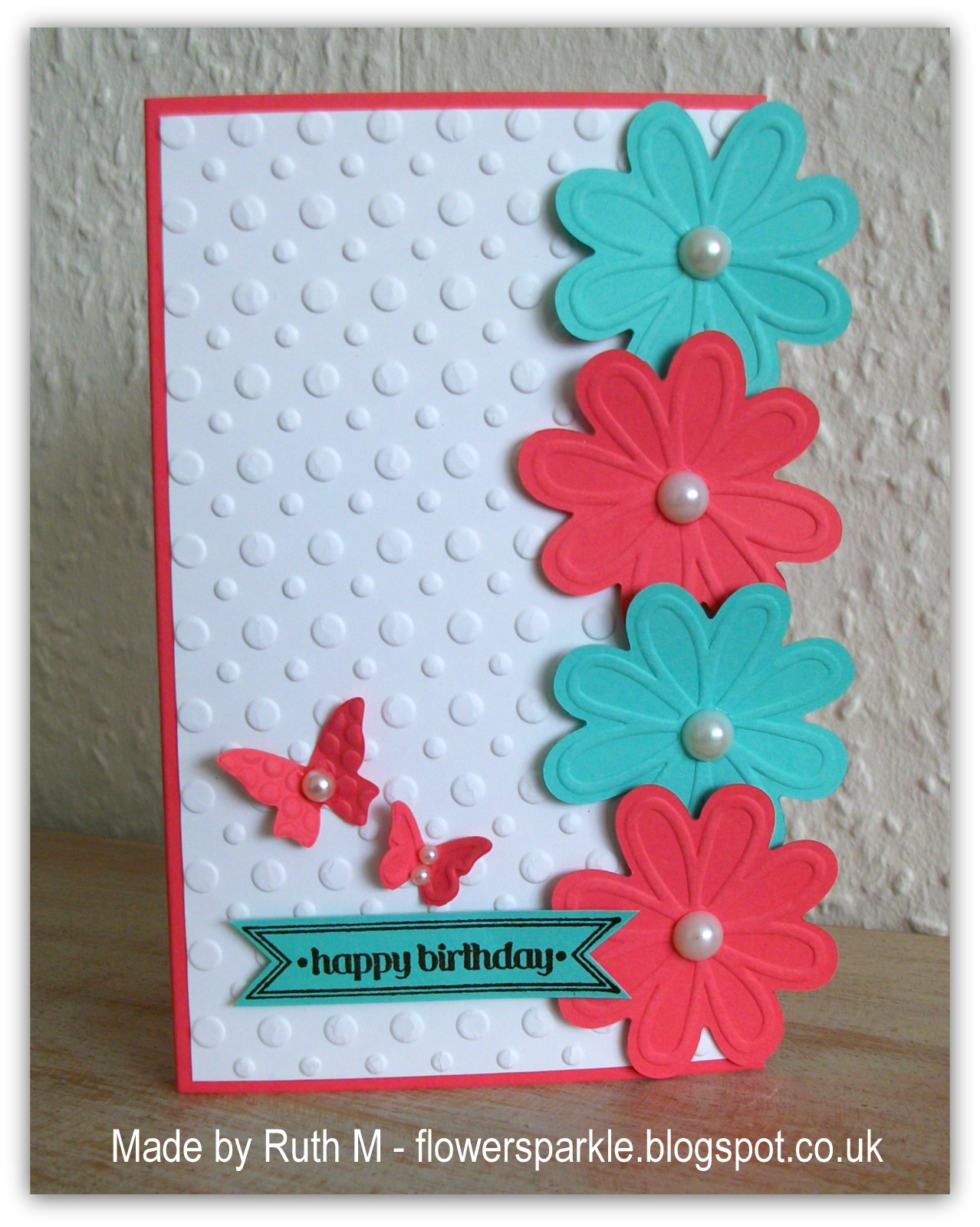 Flower Sparkle Flower Edged Happy Birthday Card Inkspirational